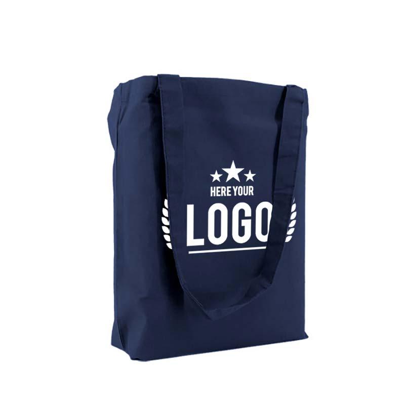 tragetasche baumwolle blau logo weiss