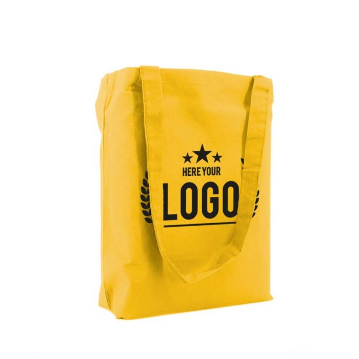 tragetasche baumwolle gelb logo schwarz