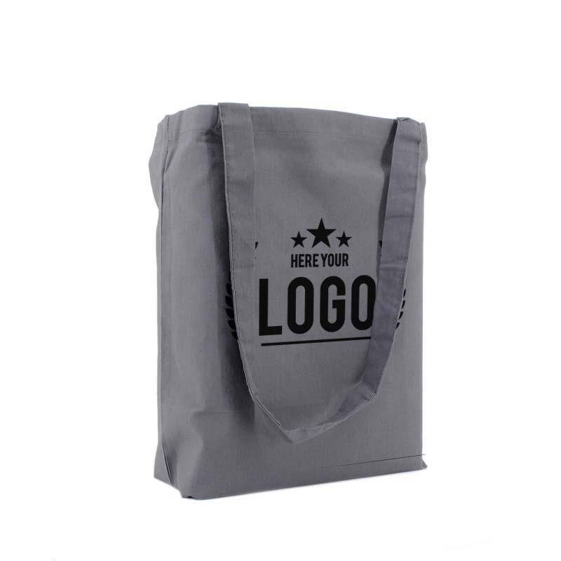 tragetasche baumwolle grau logo schwarz