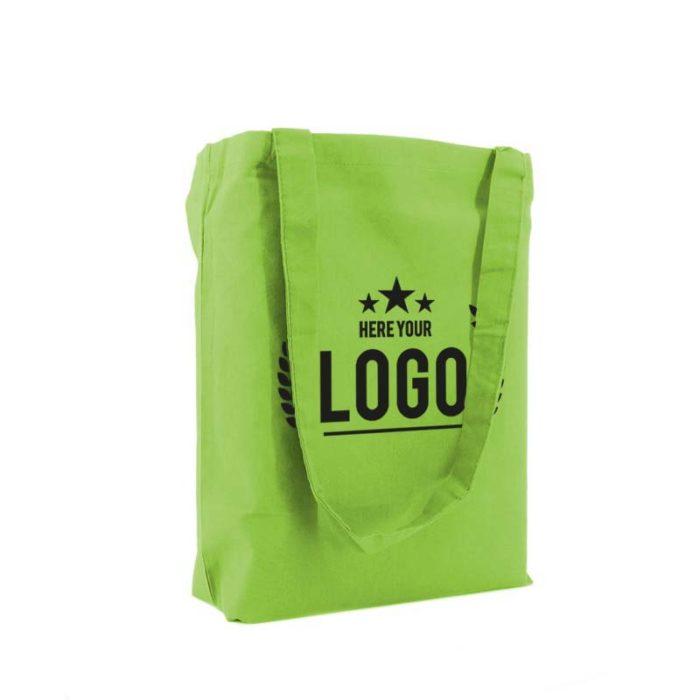tragetasche baumwolle grün logo schwarz