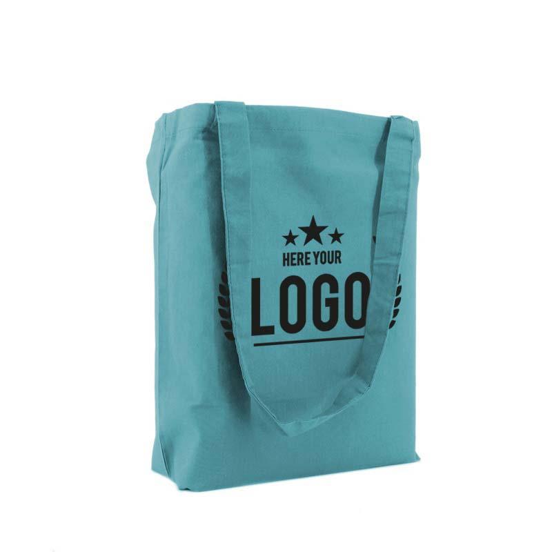 tragetasche baumwolle blau logo schwarz