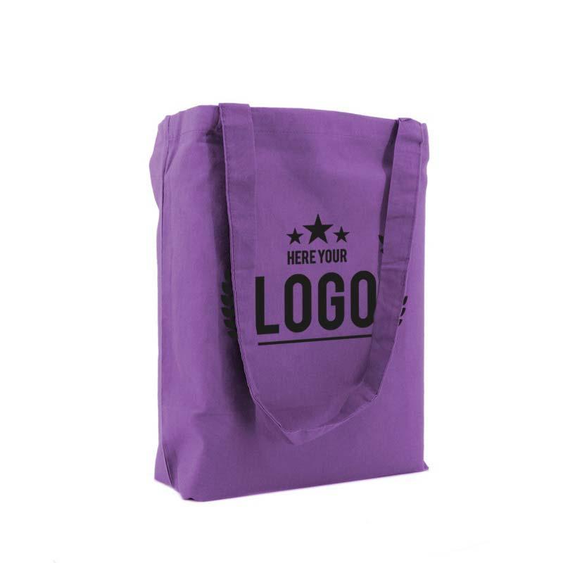 tragetasche baumwolle lila logo schwarz