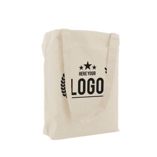 tragetasche baumwolle natural logo schwarz