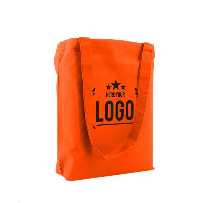 tragetasche baumwolle orange logo schwarz