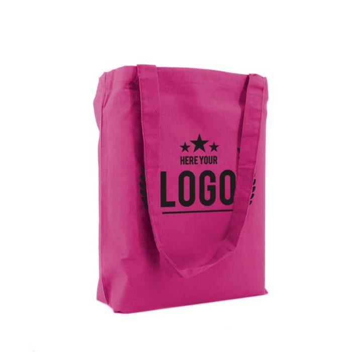 tragetasche baumwolle pink logo schwarz