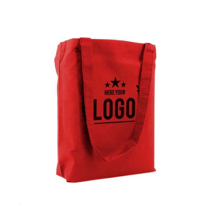 tragetasche baumwolle rot logo schwarz