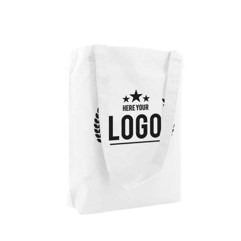 tragetasche baumwolle weiss logo schwarz