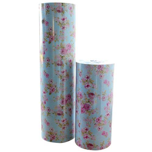 geschenkpapier rosen blau rosa