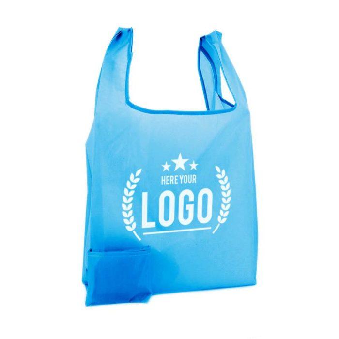 faltbare tragetasche blau logo weiss