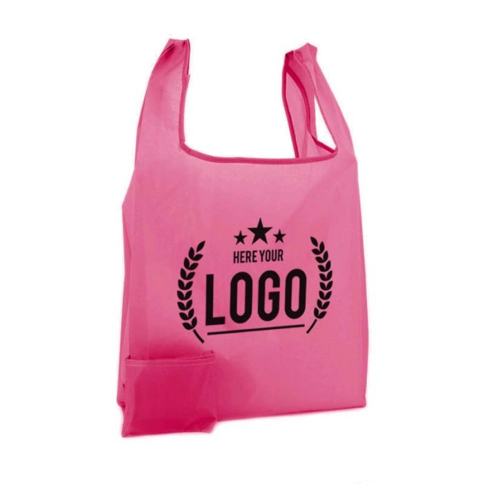 pink faltbare tragetasche logo schwarz