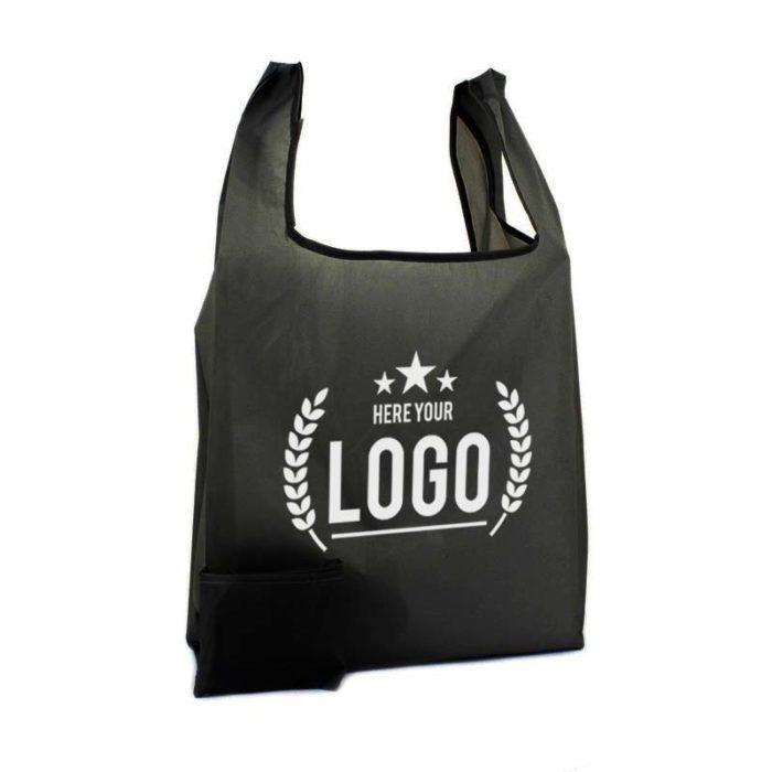 schwarz faltbare tragetasche logo weiss