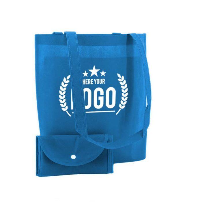 blau faltbare tragetasche non woven logo weiss