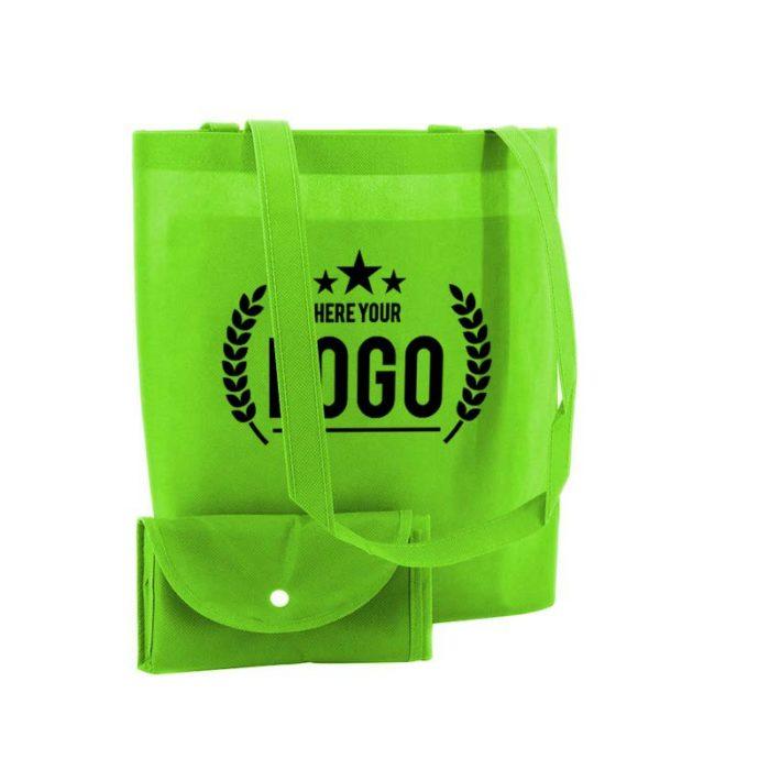 grün faltbare tasche non woven logo schwarz