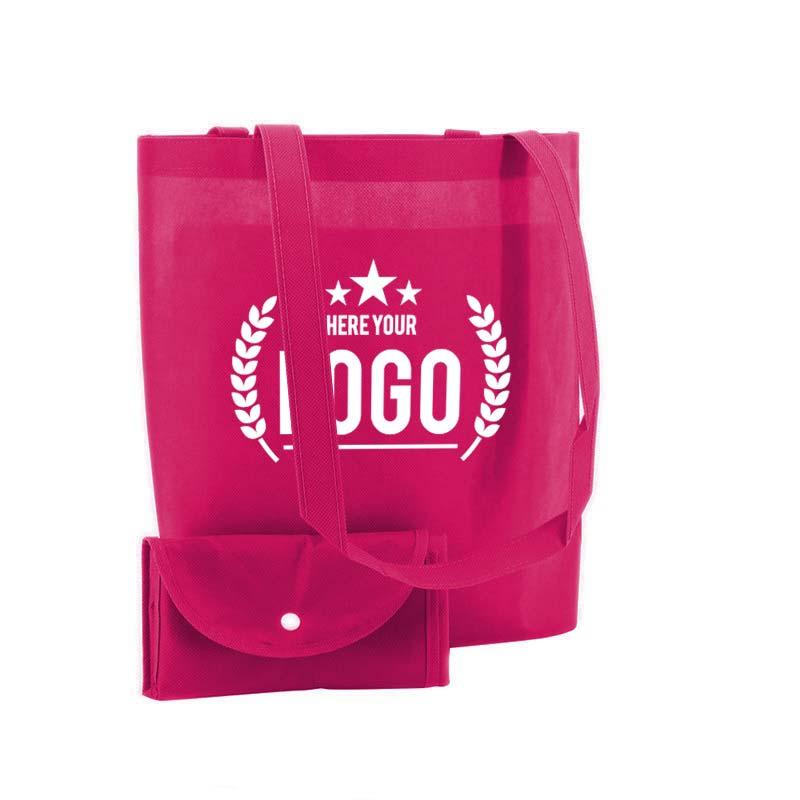 pink faltbare tasche non woven logo weiss