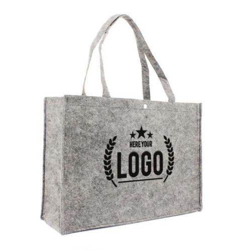 filz grau tragetasche logo schwarz