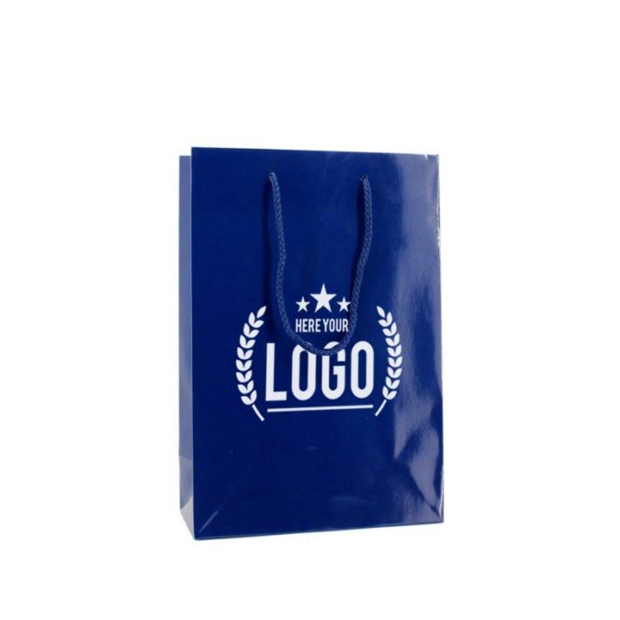 blau tragetasche weiss logo