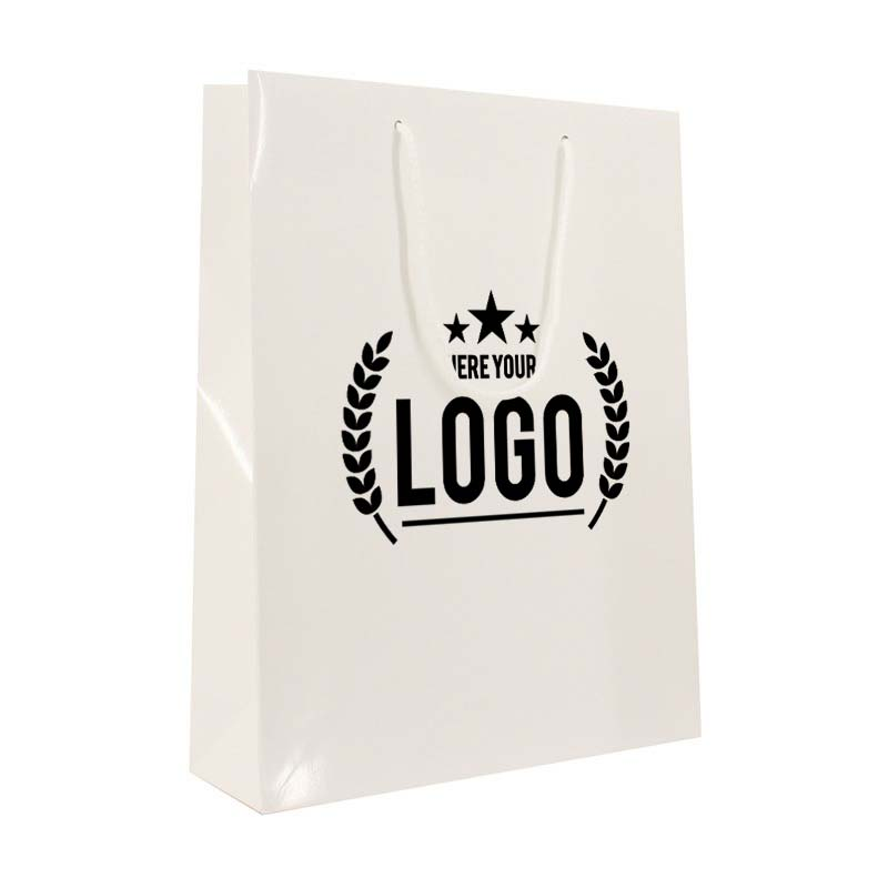 weiss tragetasche schwarz logo