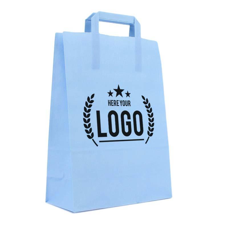 hellblau papiertasche schwarz logo