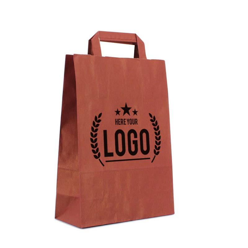 dunkelrot papiertasche schwarz logo