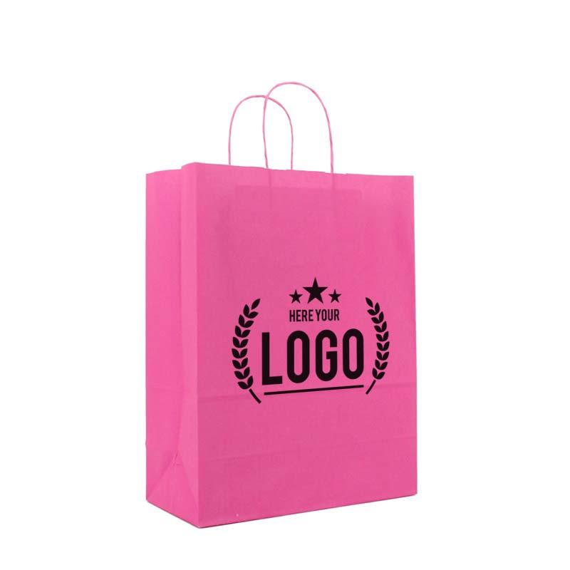 pink papiertasche schwarz logo