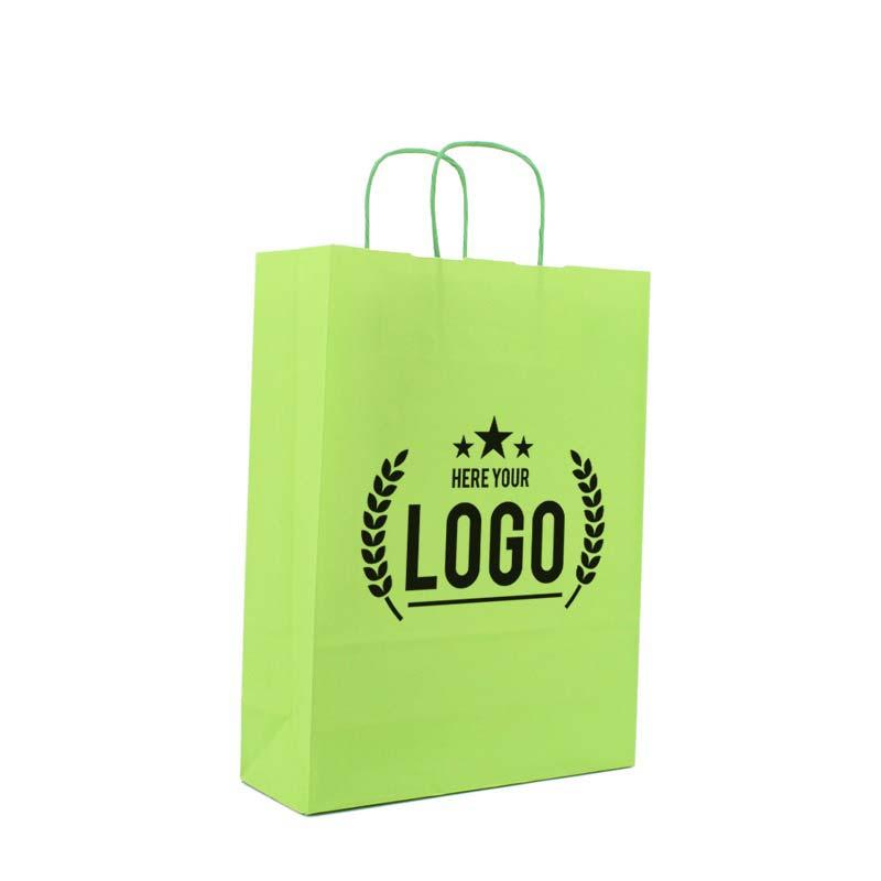 grün papiertasche schwarz logo