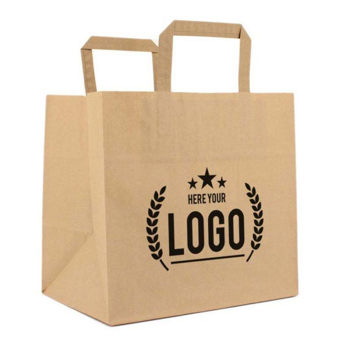 braun papier tragetasche schwarz logo