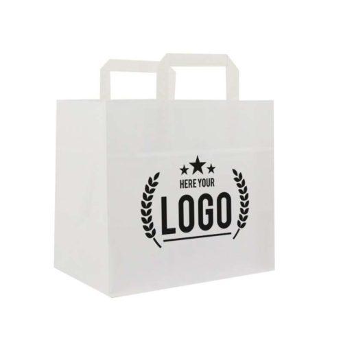 weiss papier tragetasche schwarz logo
