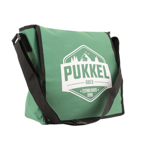 satteltasche umhängetasche grün logo weiss