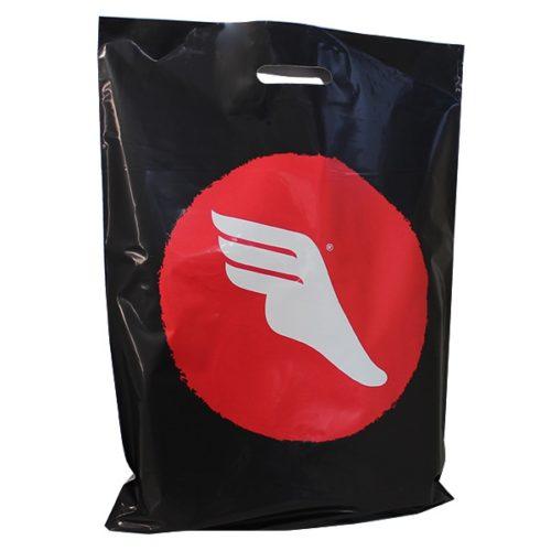 plastiktüte schwarz rot logo weiss