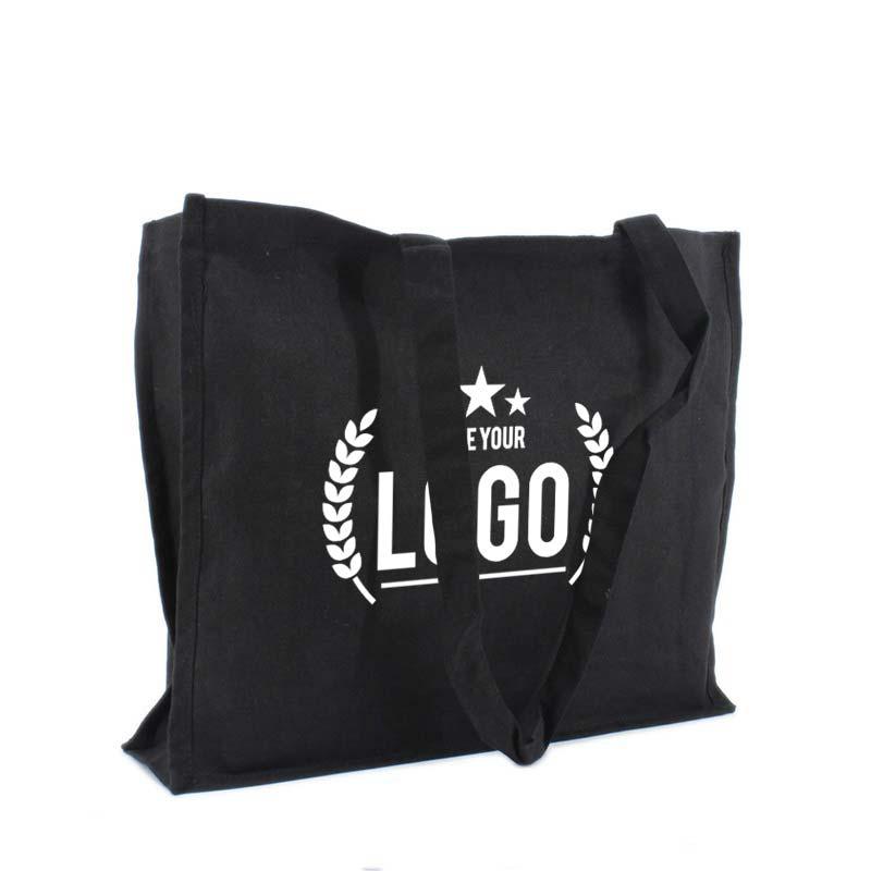 tragetasche baumwolle schwarz logo weiss