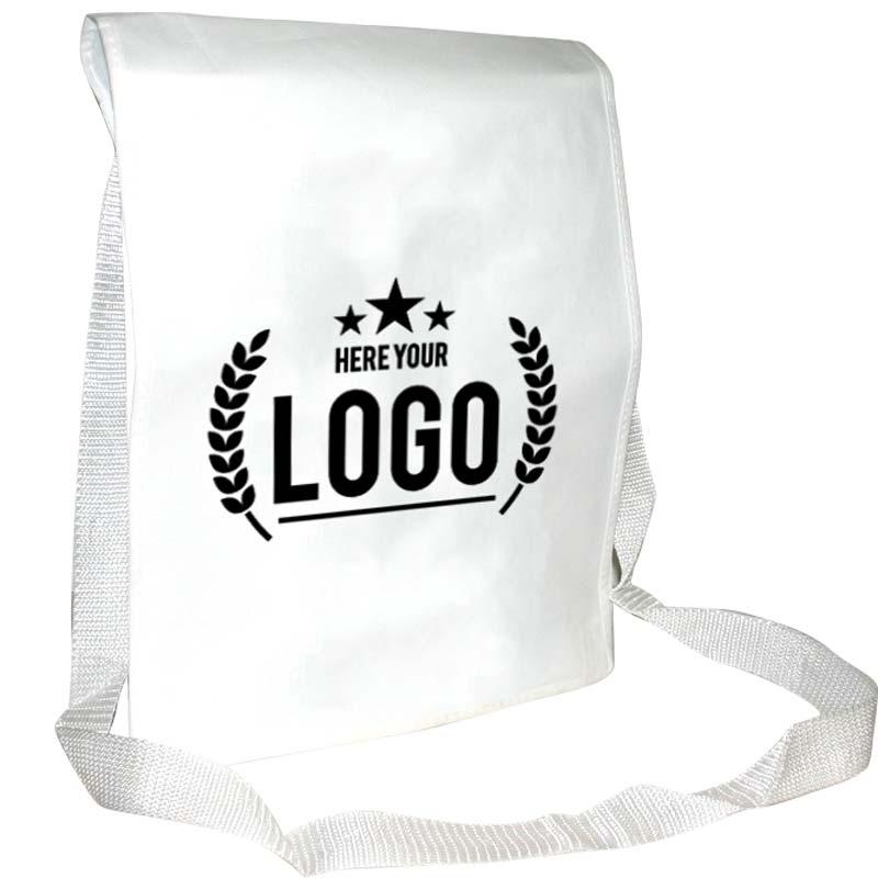 weiss umhängetasche schwarz logo