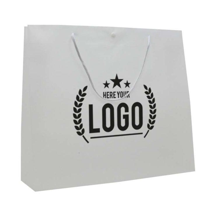 papier tasche weiss logo schwarz