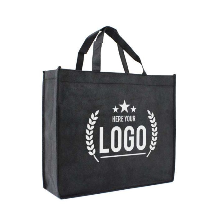 tragetasche schwarz logo weiss