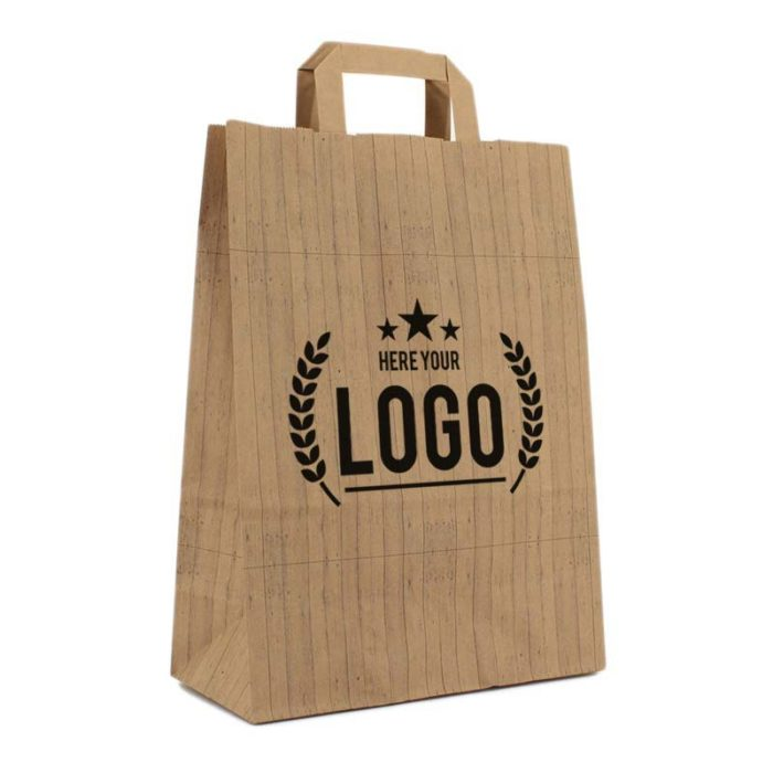 recycelte plastiktüte holz optik logo schwarz