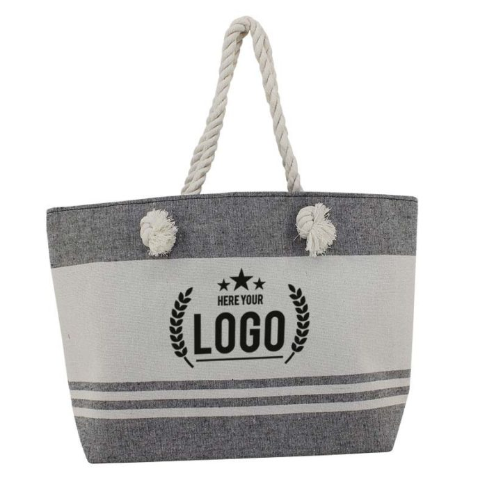 strand tasche grau weiss logo schwarz