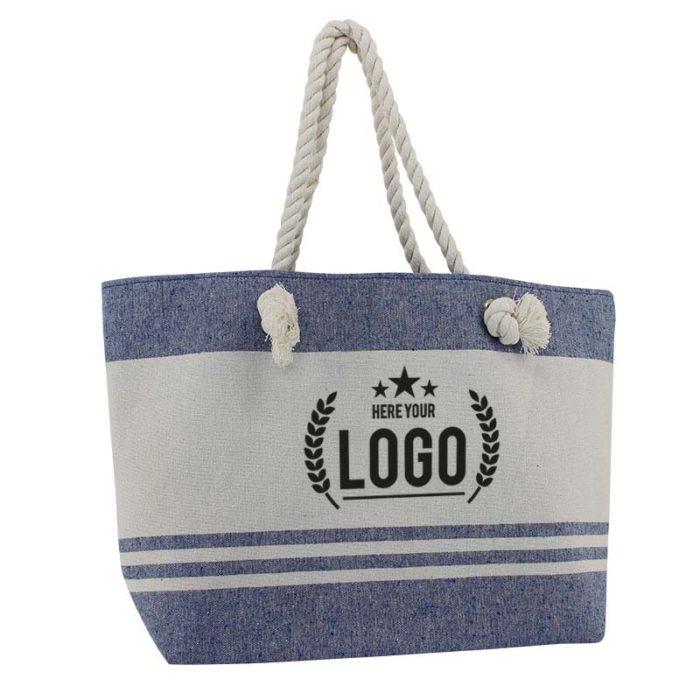strand tasche weiss blau logo schwarz