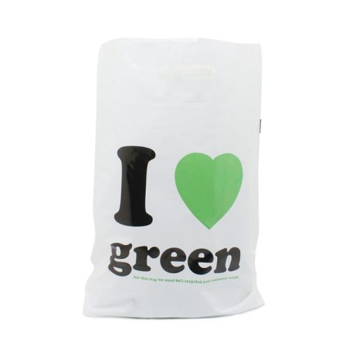 recycelte plastiktüte weiss schwarz grün
